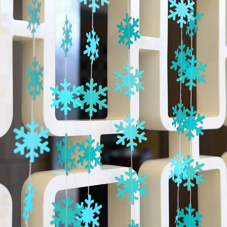 4m Matte Sky Blue Christmas Snowflakes Paper Garland