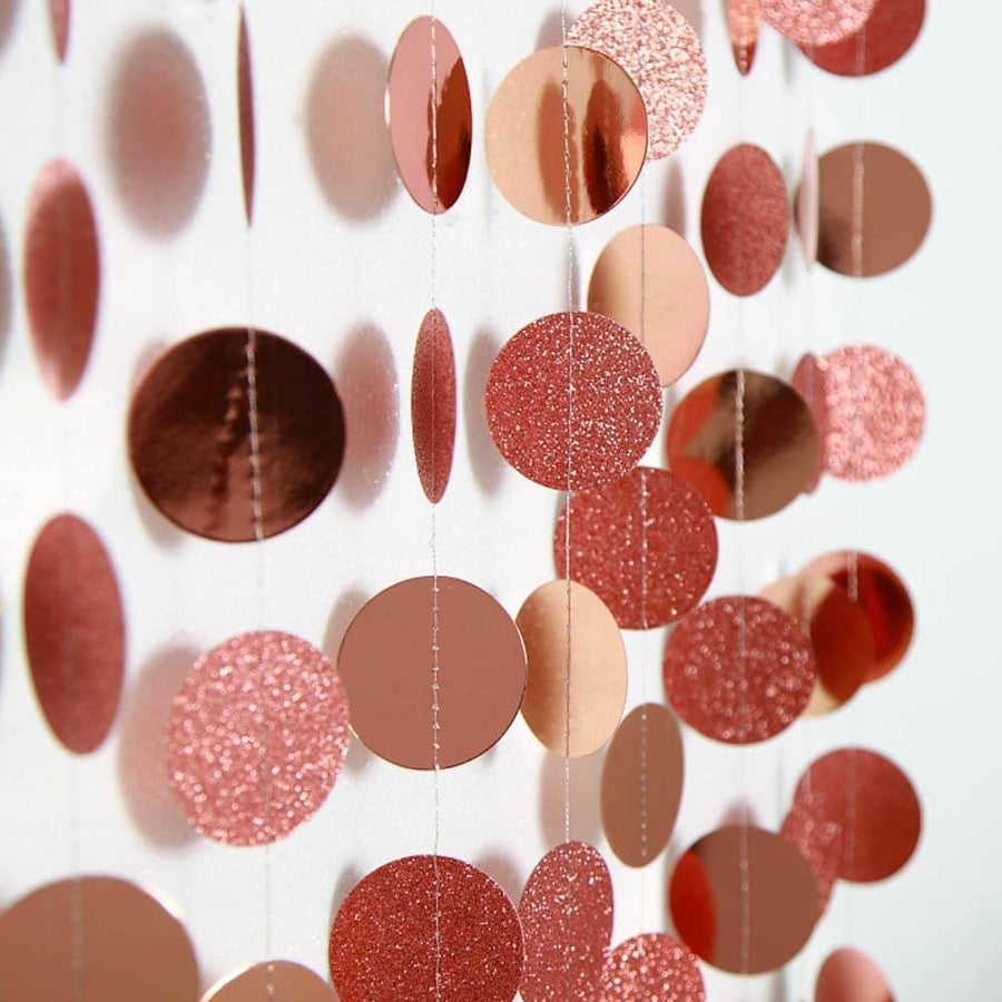 4m Rose Gold Glitter Circle Polka Dot Paper Garland