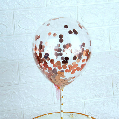 "5 x 5"" Online Party Supplies Mini Rose Gold Confetti Balloons for wedding cake toppers, table decorations"