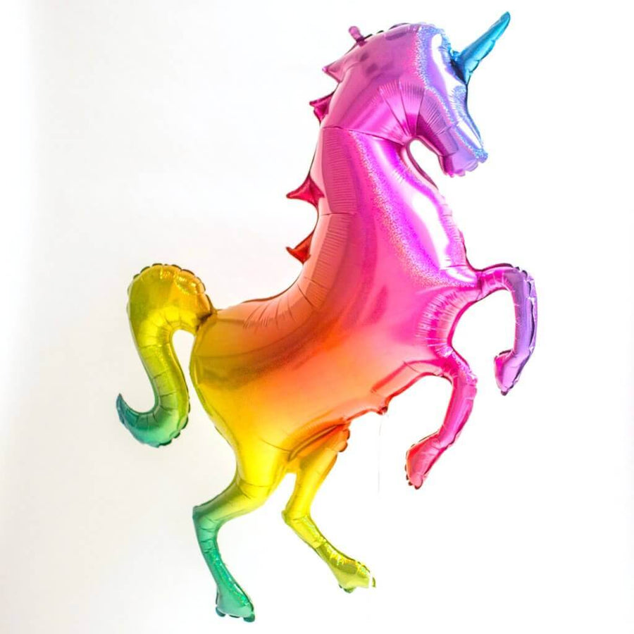 "53"" Jumbo Holographic Glitter Rainbow Unicorn Balloon"