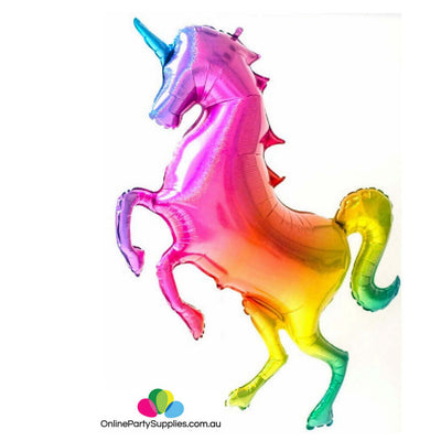 "53"" Jumbo Holographic Glitter Rainbow Unicorn Shaped Helium Foil Balloon"
