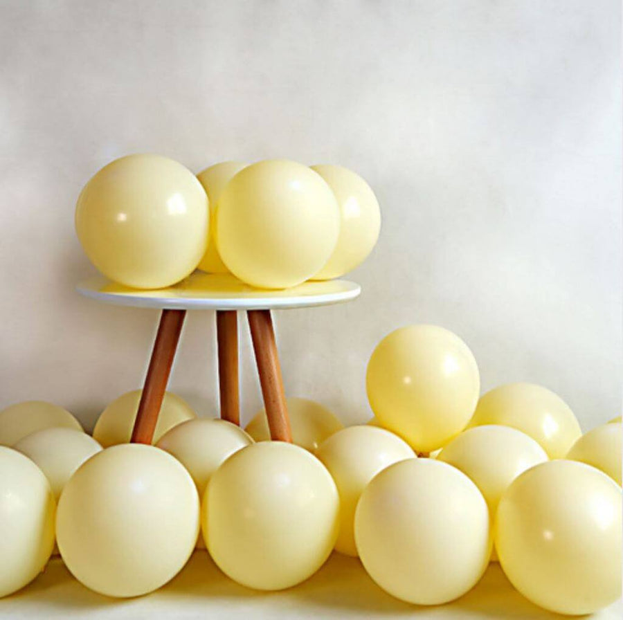 "5"" / 10"" Pastel Soft Yellow Macaron Latex Balloons (Pack of 10)"
