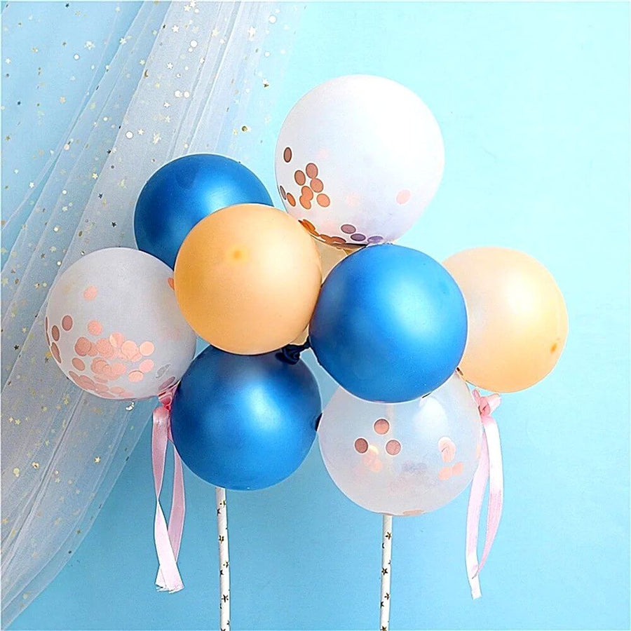 Mini Blue, Gold & Rose Gold Confetti Latex Balloon Garland Cake Topper Kit