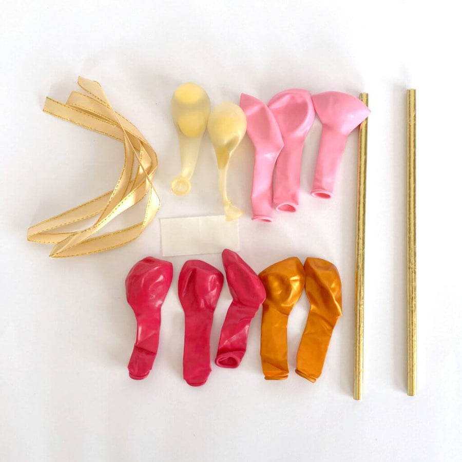 Mini Confetti Latex Balloon Garland Cake Topper Kit - Pink, Hot Pink & Gold