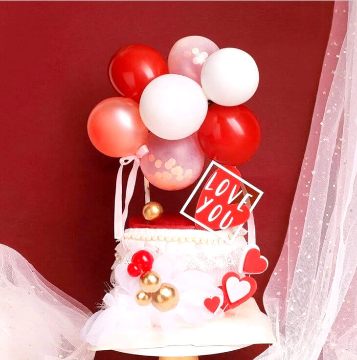 Mini Red & White Latex Balloon Garland Cake Topper Kit - Birthday, Wedding & Bridal Shower Cake Supplies and Decorations