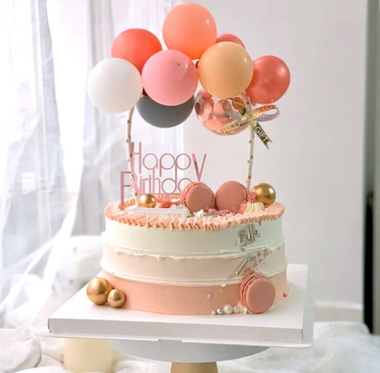 Mini Rose Gold, Baby Pink & Grey Latex Balloon Garland Cake Topper Kit - Birthday, Wedding & Bridal Shower Cake Supplies and Decorations