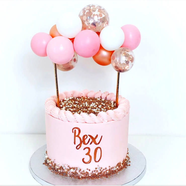 Mini Confetti Latex Balloon Garland Cake Topper Kit - Rose Gold & Baby Pink