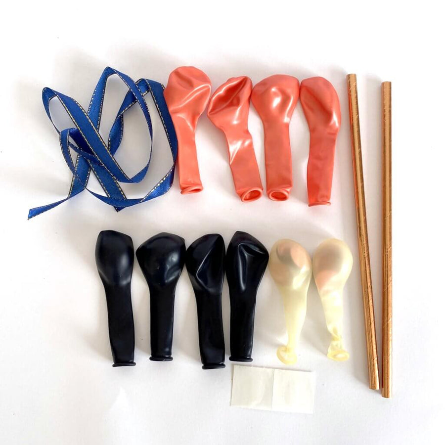 Mini Rose Gold & Navy Blue Latex Balloon Garland Cake Topper Kit