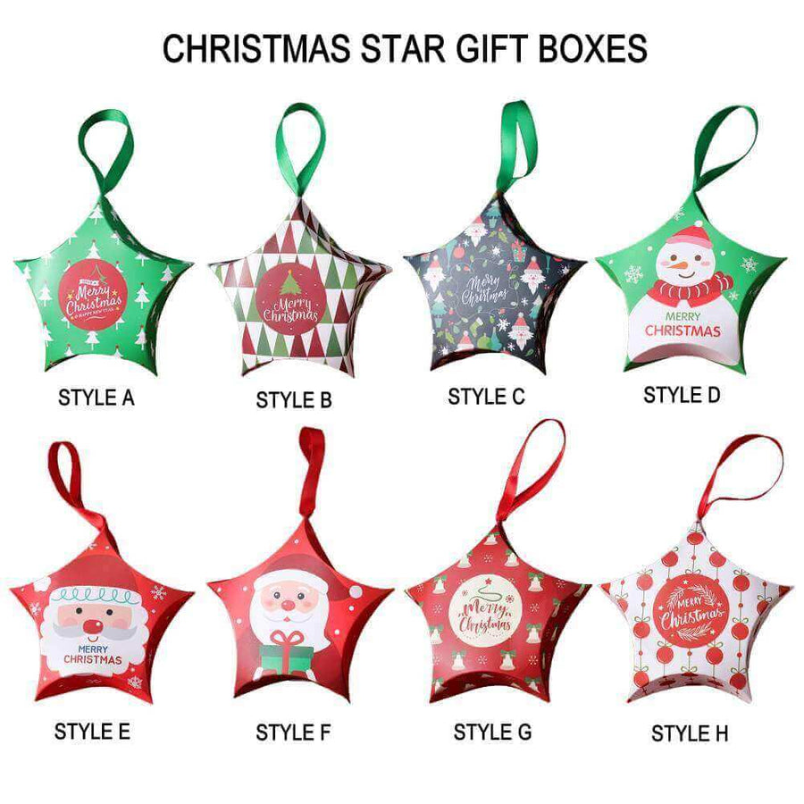 Merry Christmas Treat Box 5 Pack - Christmas Gift Packaging and Holiday Present Wrapping Ideas