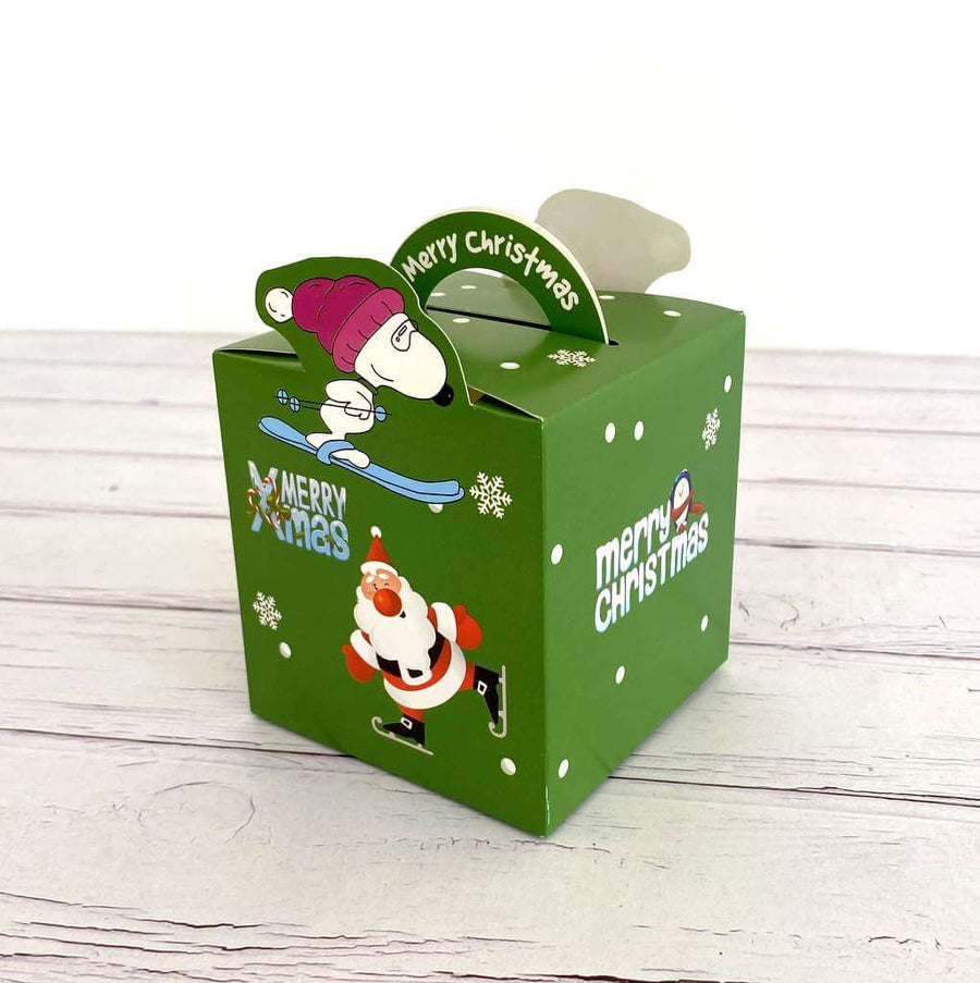 Green Merry Christmas Santa Ice Skating Treat Box 5 Pack
