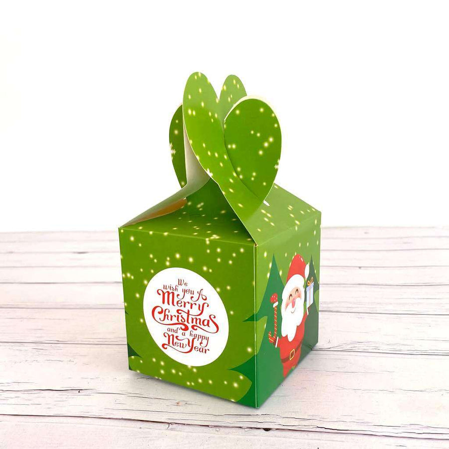Green Santa We Wish You A Merry Christmas And A Happy New Year Gift Box 5 Pack - Green Holly Leaves