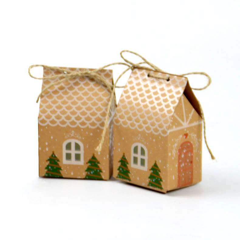 Kraft Christmas Treat House Box 5 Pack - Christmas Gift Packaging and Cookie Wrapping Ideas
