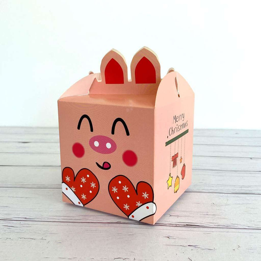Red Pink Happy Pig Face & Xmas Mitts Gift Box 5 Pack