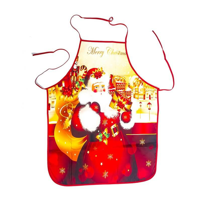 Red Christmas Apron for Adults - Victorian Santa Claus
