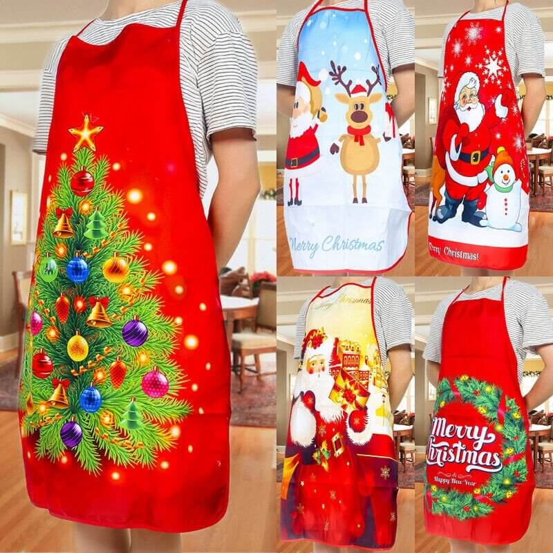 Fun Red Christmas Apron for Adults - 60cm x 80cm