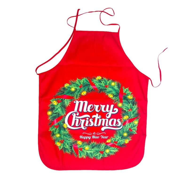 Christmas Apron for Adults - Merry Christmas Holly Wreath