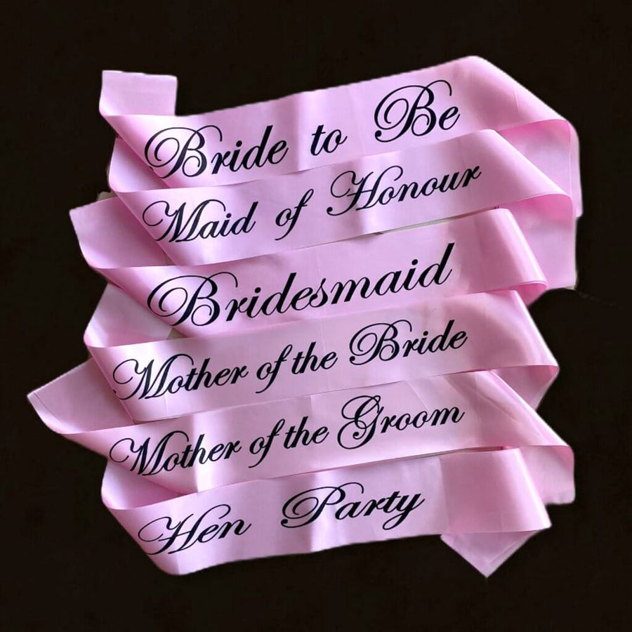 Pink Bachelorette Party Satin Sash with Black Writing