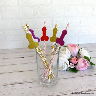 Naughty Funny Penis Paper Drinking Straws - Hen Party Favours