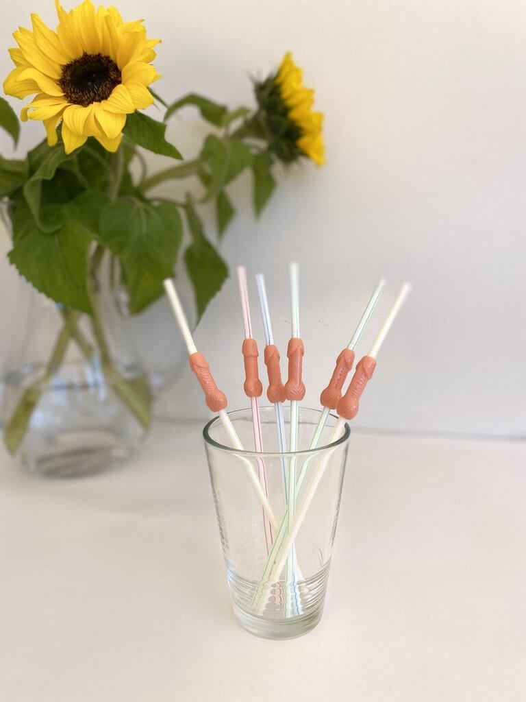 3D Penis Shaped Drinking Straws 6 Pack - Nude