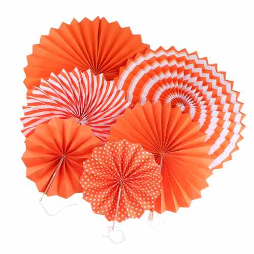 Orange Hanging Paper Fan Decorations (Set of 6)