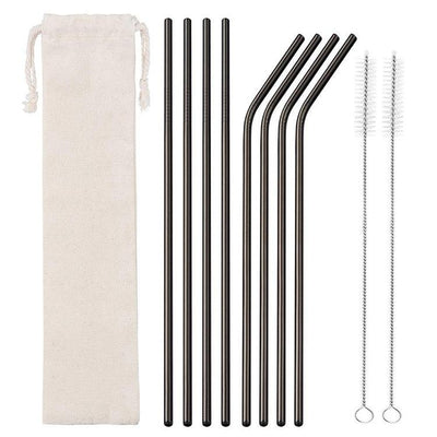 8 Pack Black Stainless Steel Drinking Straws + Cleaning Brush & Natural Canvas Storage Pouch - Online Party Supplies