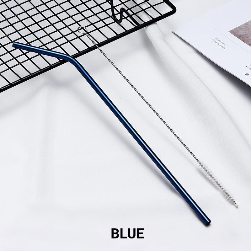8 Pack Blue Stainless Steel Drinking Straws + Cleaning Brush & Natural Canvas Storage Pouch