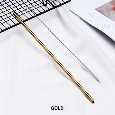 8 Pack Gold Stainless Steel Drinking Straws + Cleaning Brush & Natural Canvas Storage Pouch - Online Party Supplies
