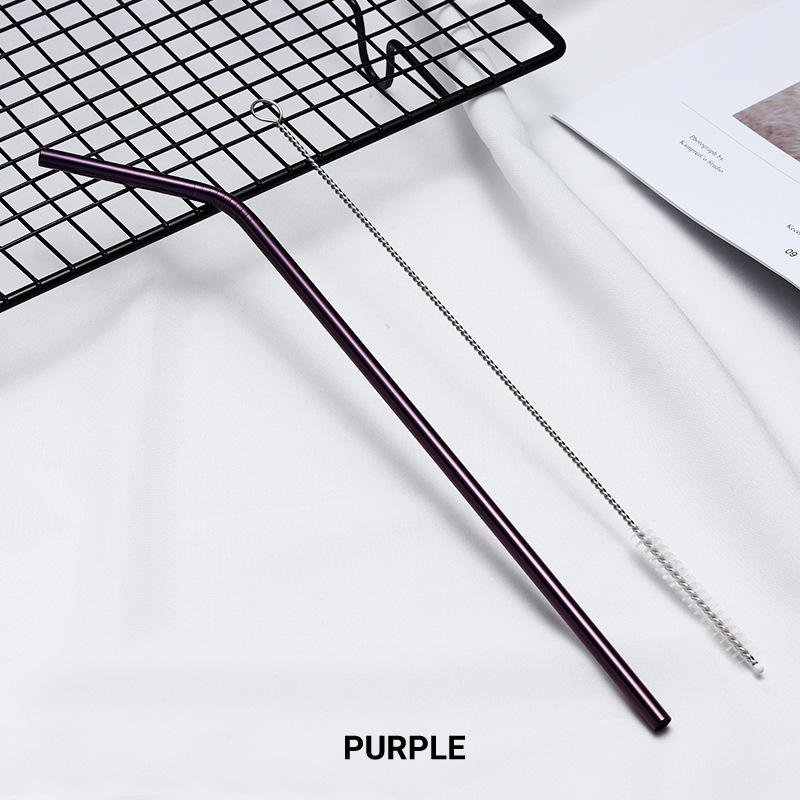 8 Pack Purple Stainless Steel Drinking Straws + Cleaning Brush & Natural Canvas Storage Pouch