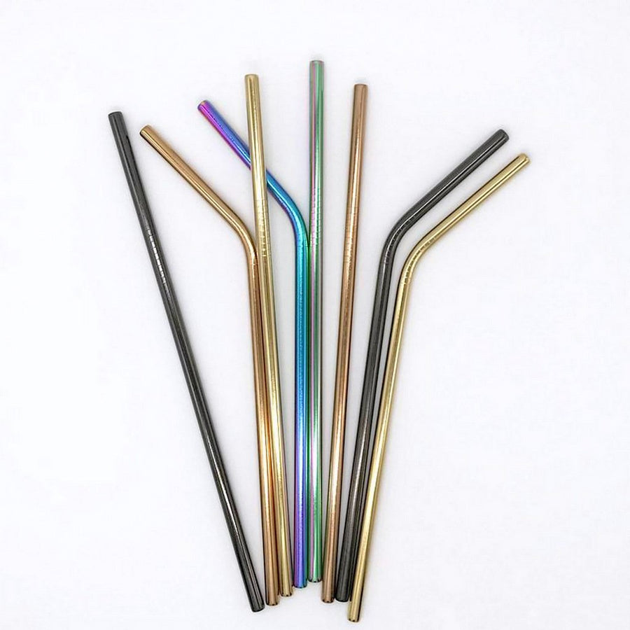 8 Pack Rainbow, Rose Gold, Black and Gold Stainless Steel Drinking Straws + Cleaning Brush & Natural Canvas Storage Pouch