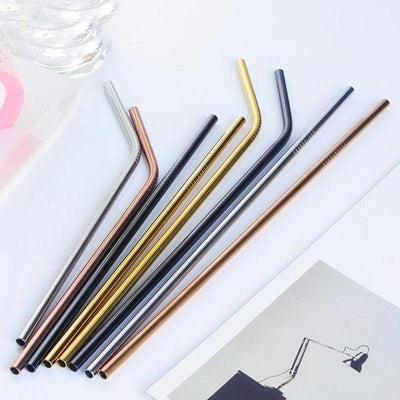 8 Pack Straight and Bent SILVER, ROSE GOLD, BLACK AND GOLD Stainless Steel Drinking Straws + Cleaning Brush & Natural Canvas Storage Pouch - Online Party Supplies
