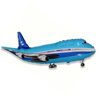 82cm/ 32inch Large Blue Flying Airplane Shaped Helium Foil Balloon Set - Online Party Supplies