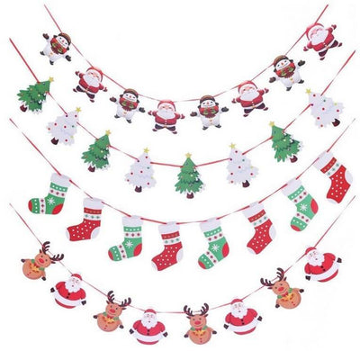 Online Party Supplies Reversible Christmas Santa and Snowman Paper Banner Bunting - Christmas Party Decorations