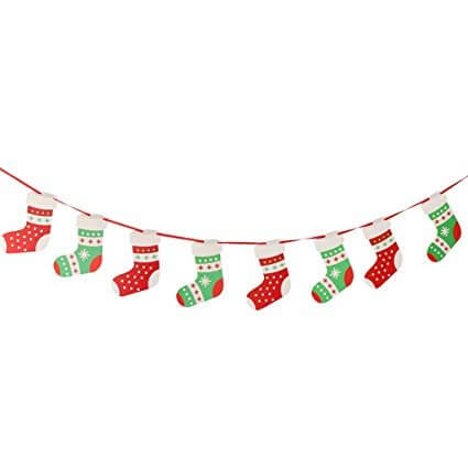 Online Party Supplies Reversible Christmas Stocking Paper Banner Bunting - Christmas Party Decorations