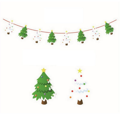 Online Party Supplies Reversible Christmas Tree Paper Banner Bunting - Christmas Party Decorations