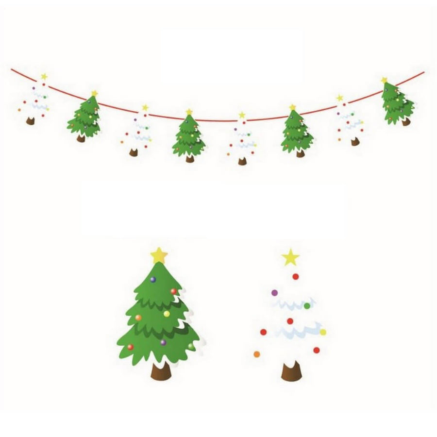 Reversible Christmas Tree Paper Banner Bunting