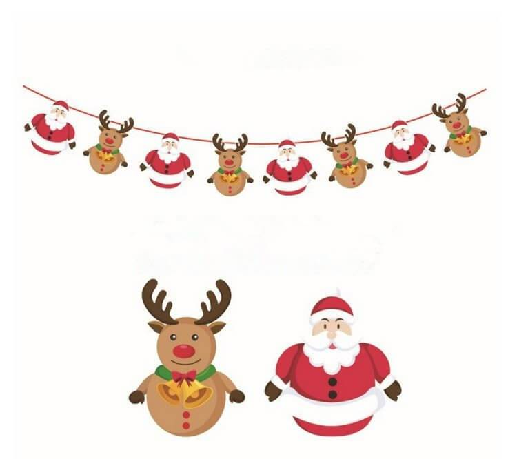 Online Party Supplies Reversible Christmas Santa and Reindeer Paper Banner Bunting - Christmas Party Decorations