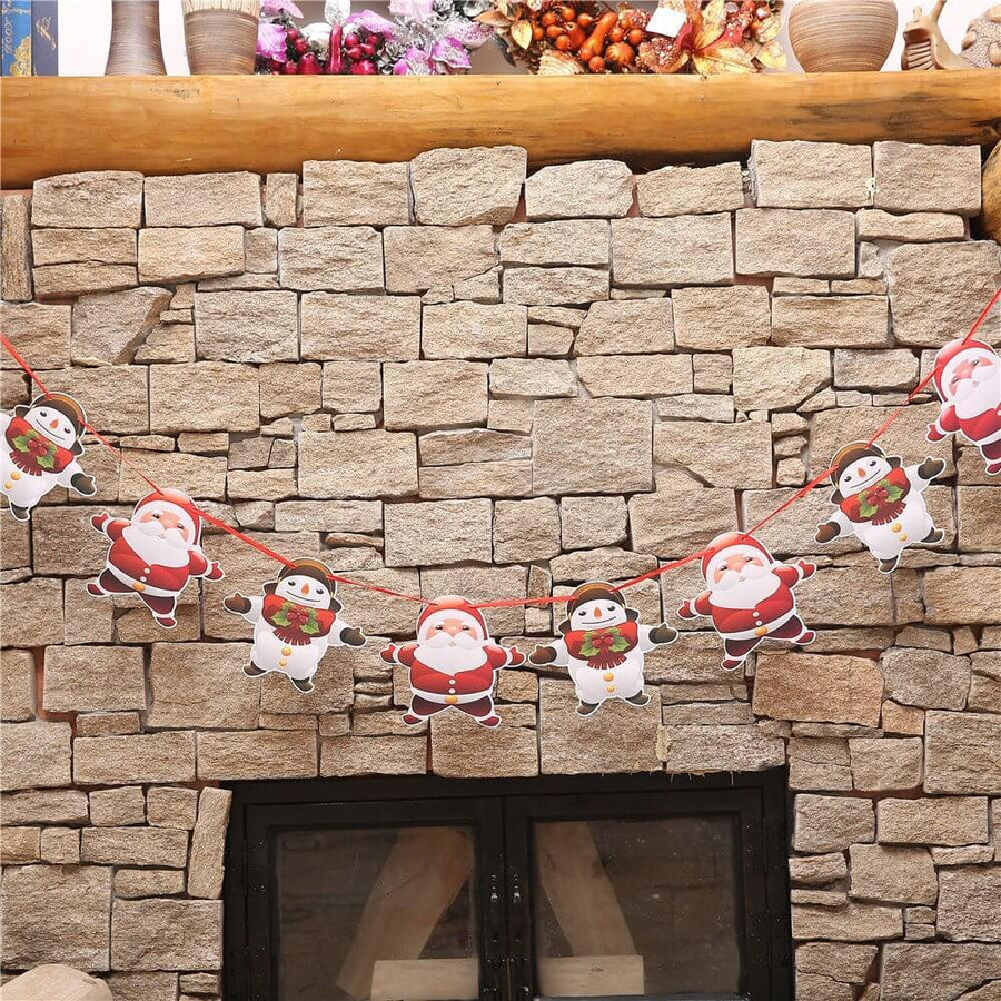 Online Party Supplies Reversible Merry Christmas Paper Banner Bunting - Christmas Decorations