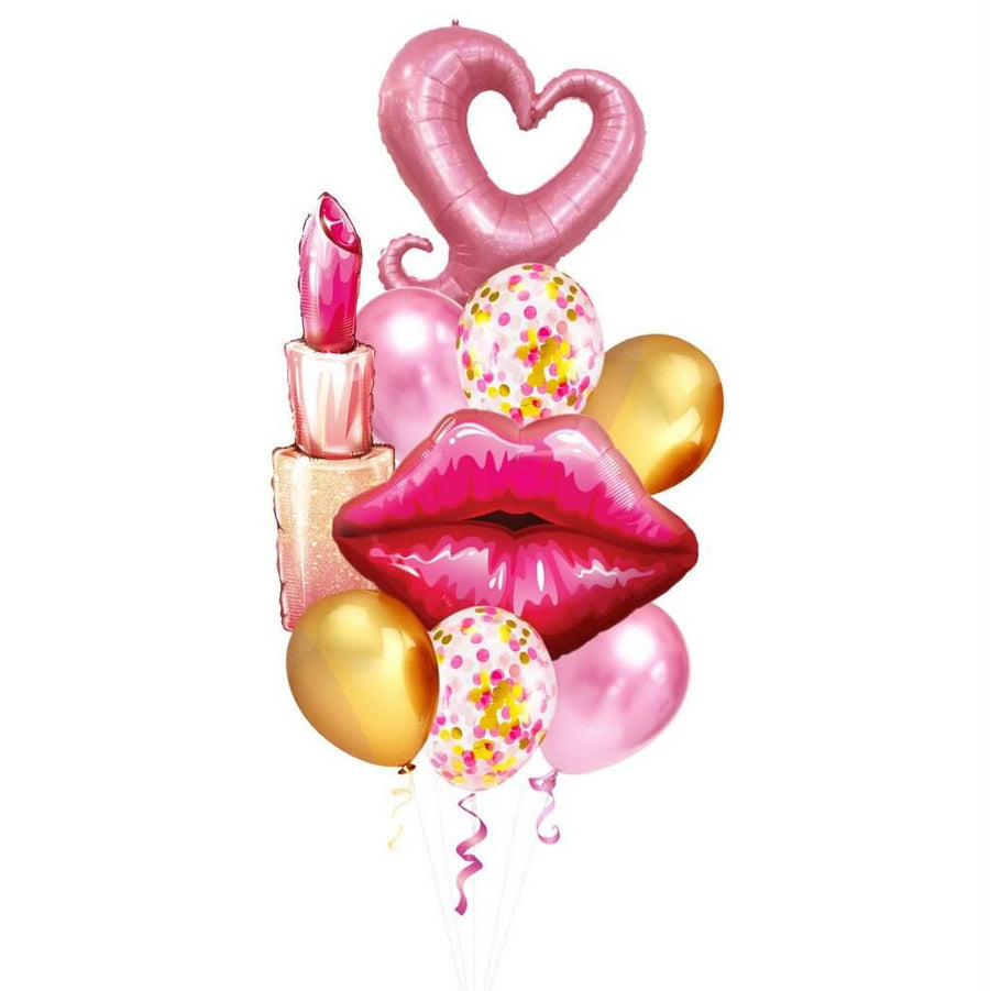 Lipstick, Red Lip, Heart Hook Foil & Pink, Chrome Gold and Confetti Latex Balloon Bouquet - 9 pieces