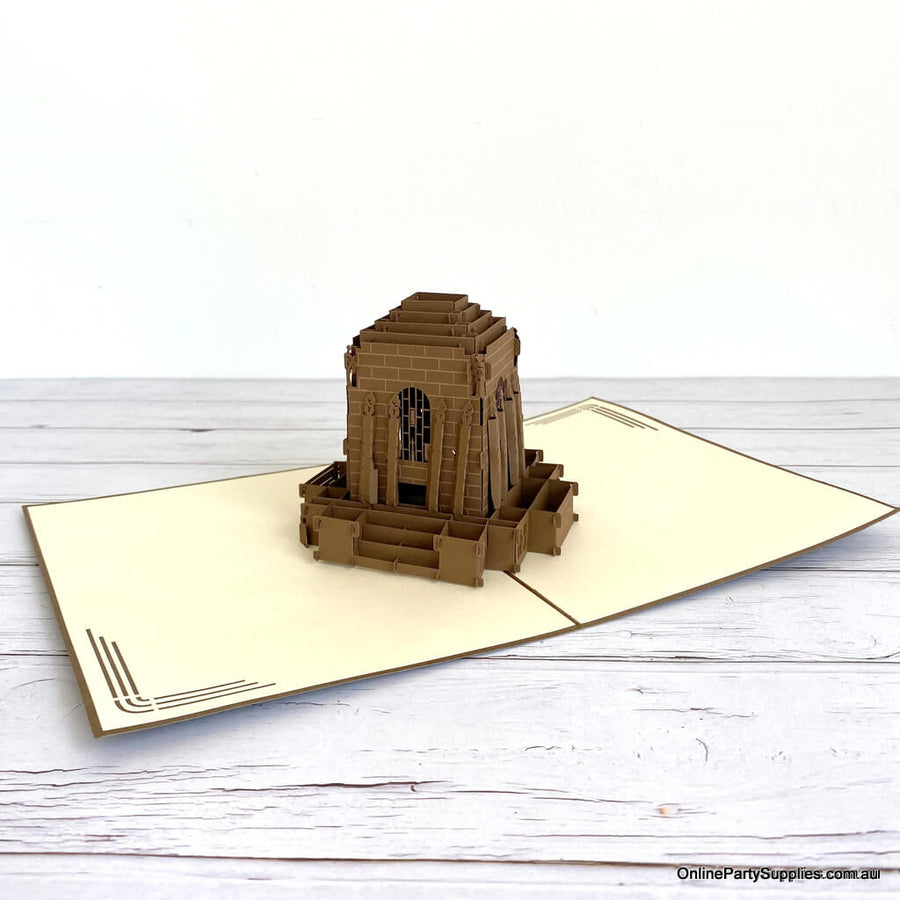 Handmade Anzac Memorial 3D Pop Up Greeting Card - World Famous Building Pop Cards Australia
