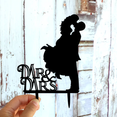 Silhouette Mr & Mrs Wedding Couple Kissing Cake Topper for engagement, bridal shower, hens party cake decorations