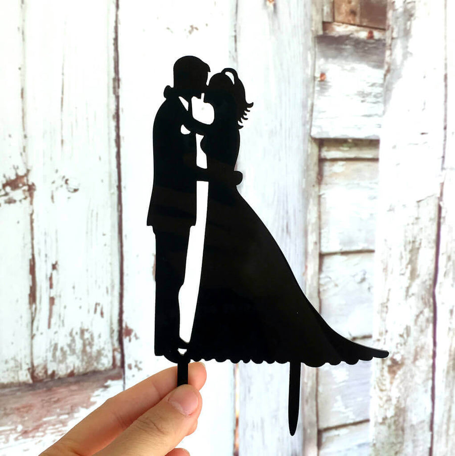 Silhouette Wedding Couple Kissing Cake Topper for engagement, bridal shower, hens party cake decorations