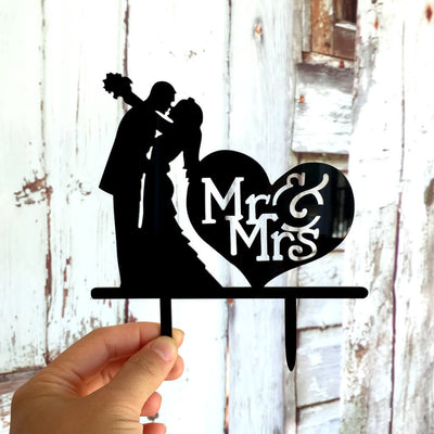 Silhouette Wedding Couple Hugging Mr & Mrs Heart Shaped Cake Topper