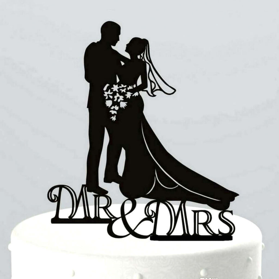 Silhouette Wedding Couple Holding Flower Bouquet Mr & Mrs Cake Topper