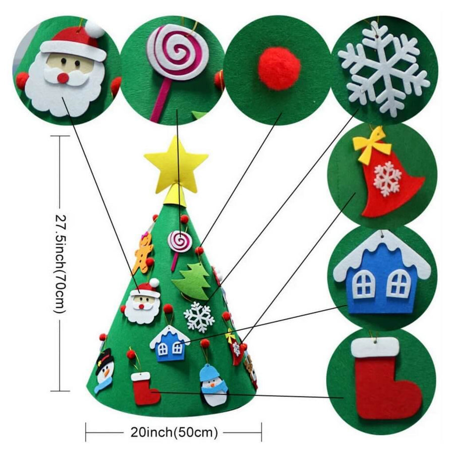 Online Party Supplies 3D Cone Felt Christmas Tree Kit (Pack of 18) - Style F