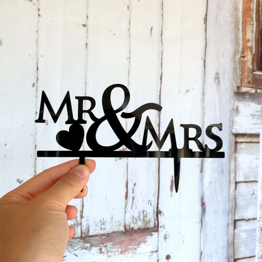 Black Acrylic Mr and Mrs Cake Topper for wedding, bridal shower, hens party cake decorations
