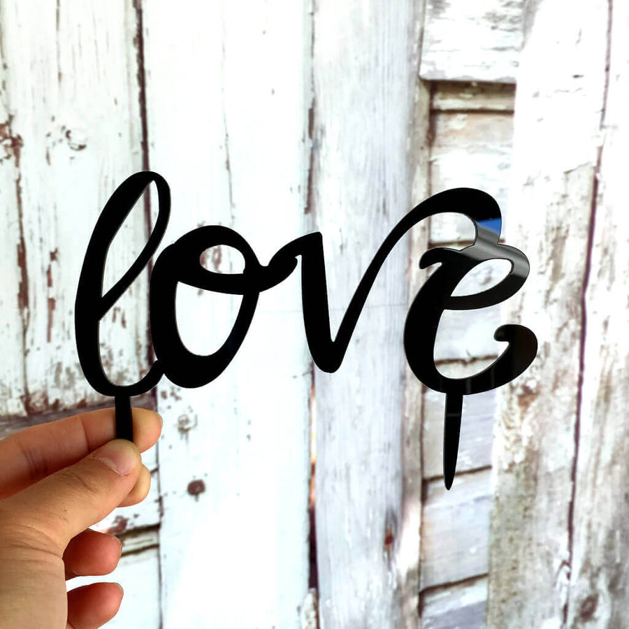 Black Acrylic 'Love' Script Birthday Cake Topper