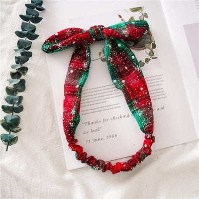 Top Knot Plaid Christmas Headband for Adults - Holiday Hair Accessories, Hair Ties, and Elastics