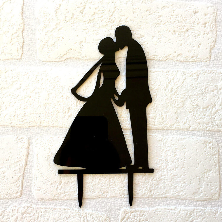 Silhouette Bride Groom Hand In Hand Kissing Wedding Cake Topper