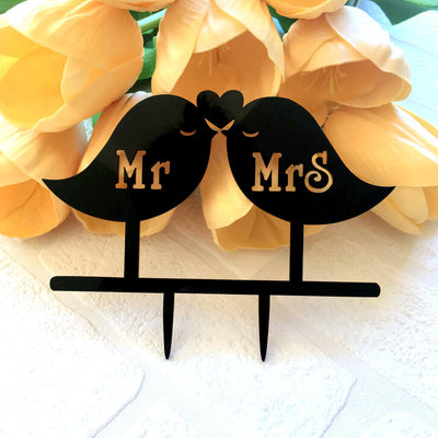 Black Acrylic Mr and Mrs Love Bird Wedding Cake Topper