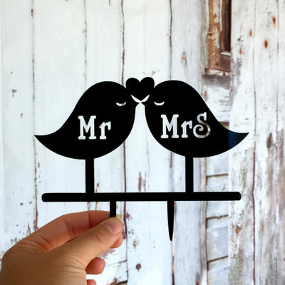 Black Acrylic Mr and Mrs Love Birds Wedding Cake Topper
